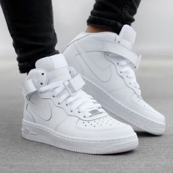☆WHITE HIGH TOP NIKE AIR FORCE ONES☆ women's size Depop