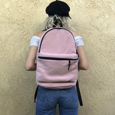 e2c8c229998c Fuzzy pink urban outfitters backpack 🎒 Super cute pink In - Depop