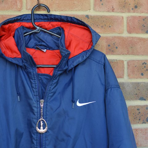 5fc54e1532 RARE VINTAGE NIKE FOOTBALL MANAGERS JACKET COAT in blue with - Depop