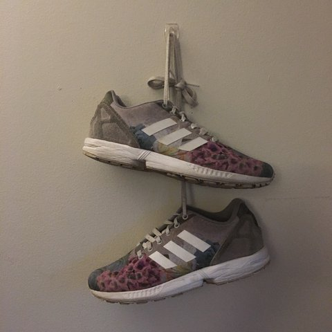 f238e0610 gray floral zx flux adidas trainers. great condition. normal - Depop