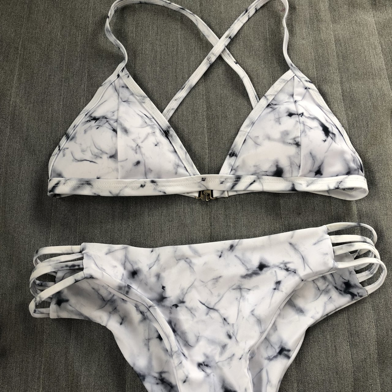 8d8d3786da Marble bikini available in size small (size 6-8 top and size - Depop
