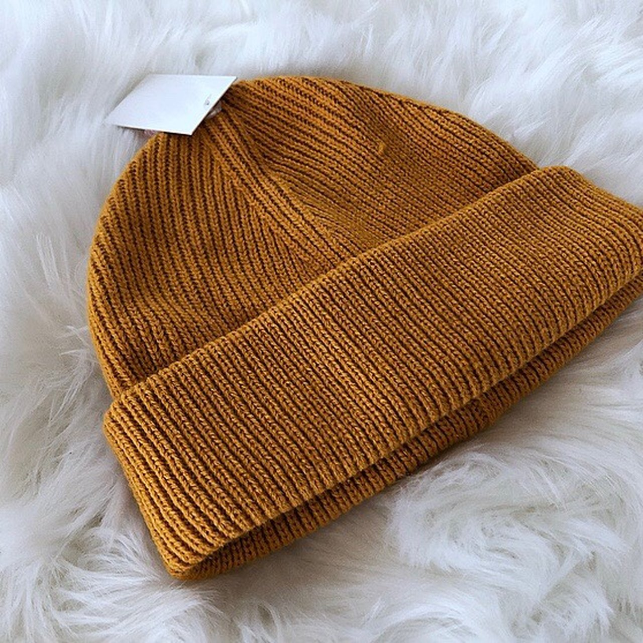 FOREVER 21 MUSTARD YELLOW BEANIE A ribbed mustard yellow in - Depop 6c377e6257a7