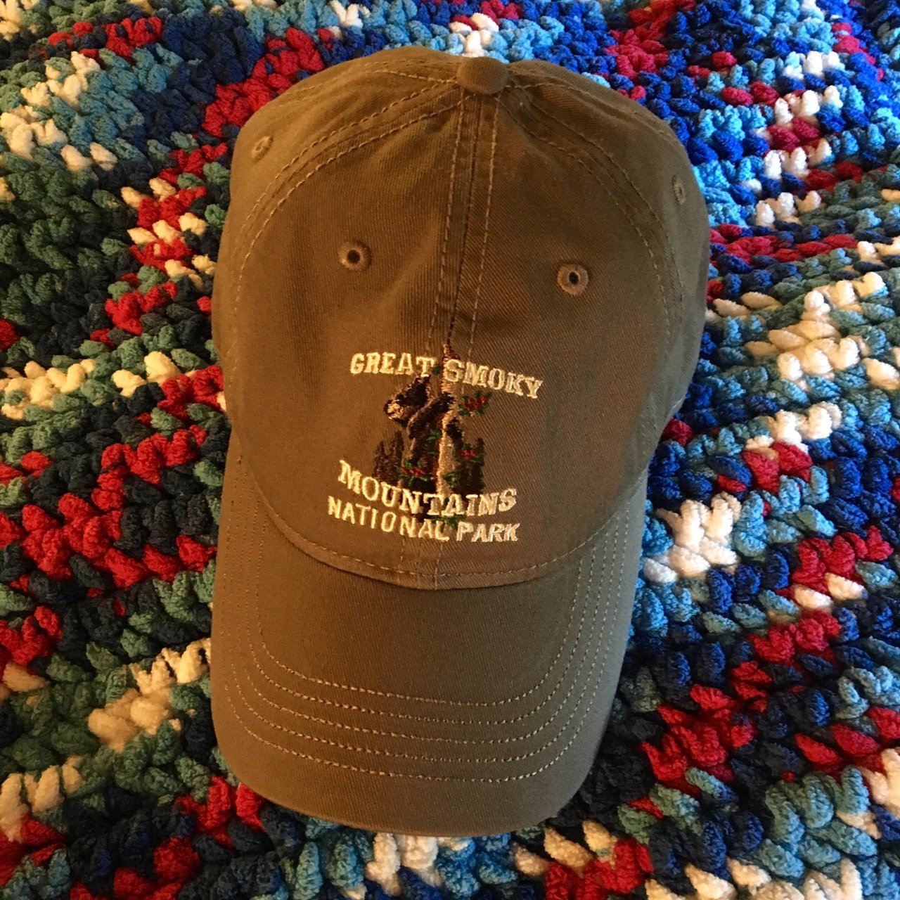 Free shipping!  This is a gray dad hat from the Great Smoky - Depop 65f5149a7cf5