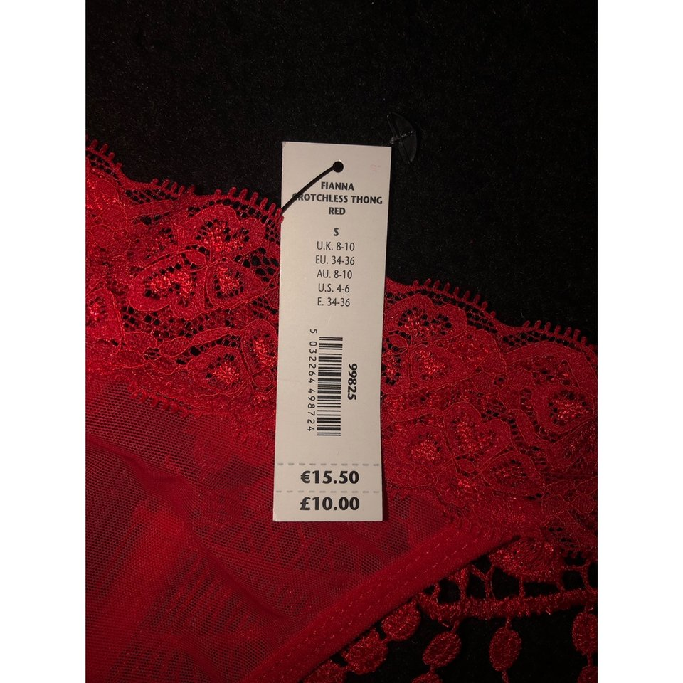 8-10 *FREE POST* Ann Summers Fianna Red Crotchless Thong Sz Small