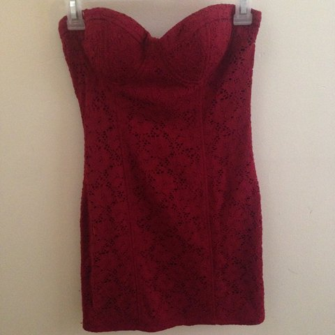 8df5c66e7ae Sexy dark red lace dress. This dress is a medium but it runs - Depop