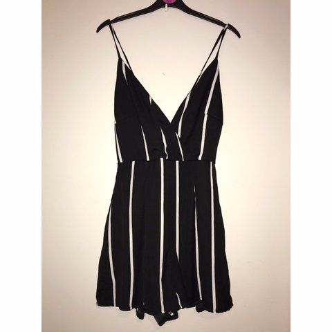 408a93df Black and white stripe cross back playsuit 🖤 Only worn 12 - Depop