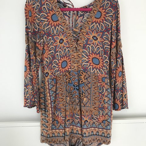 edd306d51781 Boho romper by Angie. Floral pattern with tribal accents. in - Depop