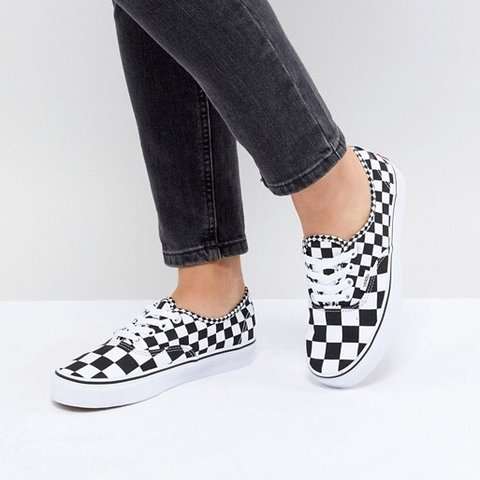 6c37924639da52 Vans authentic mix checker black and white checkered shoes. - Depop