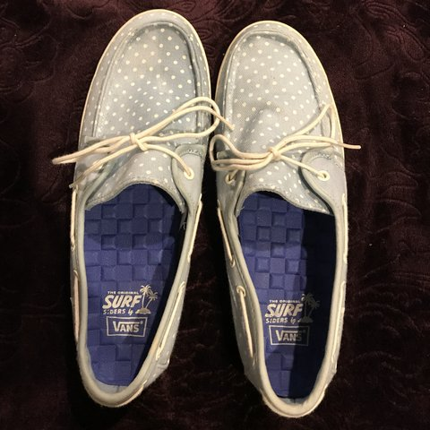 a26ab5ee13fe99 Vans Authentic Chauffeur Ladies Polka Dot Blue White Lace Up - Depop