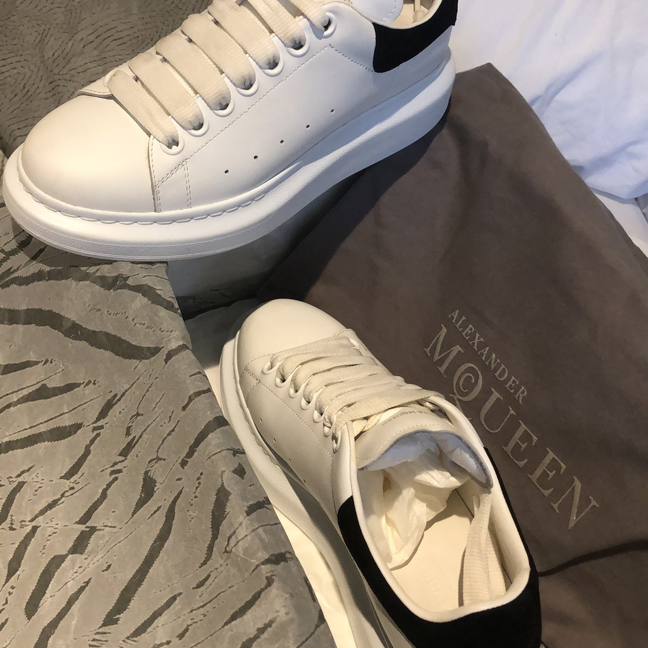 8dda8eb4d09f Alexander McQueen Leather Runway Sneakers White