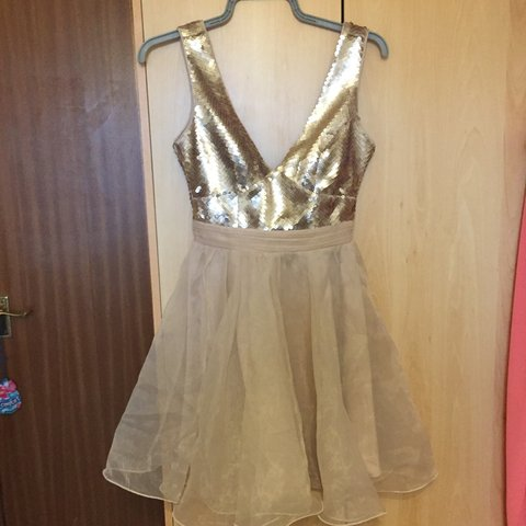028e35e95d5ea @chardh93. 3 months ago. Hoo, United Kingdom. LIPSY Sequin and Chiffon Rose  Gold Dress. Pale pink/gold ...