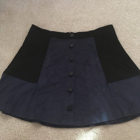 55852febf2 Navy and black A-line skirt Mock button up Faux suede soft a - Depop