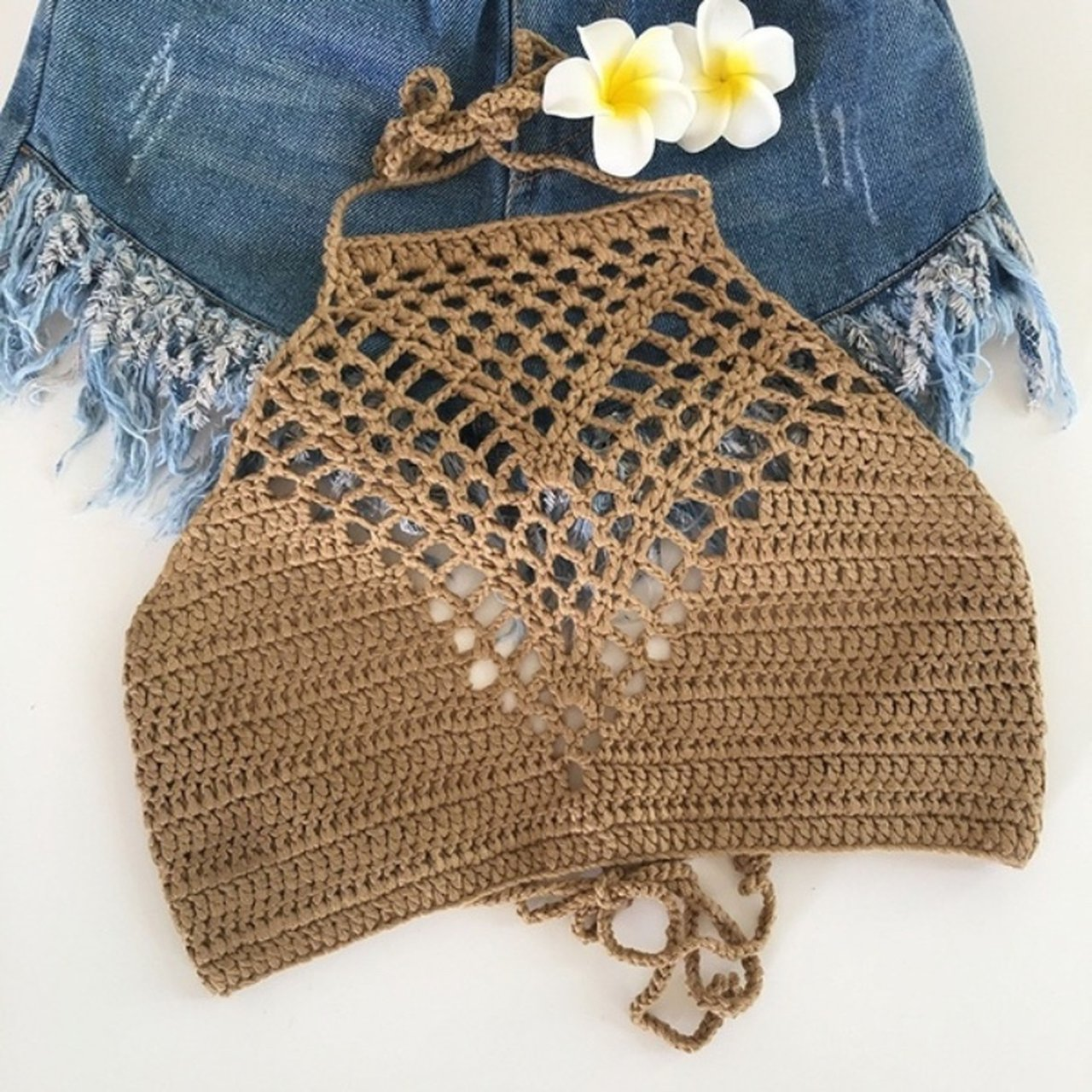 91083a4dc4c Barely worn khaki tan colored crochet high neck halter top depop jpg  1280x1280 Halter top crochet