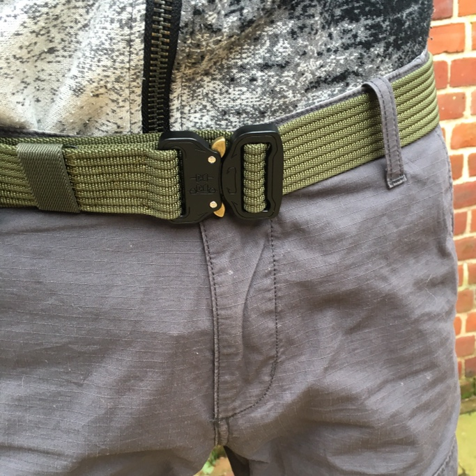 Olive Green Forest Tactical Belt With Metal Clips by Depop