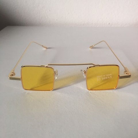 1eeee432cf Metal square sunglasses ▫️Gold frame yellow tint 2-3 days - Depop