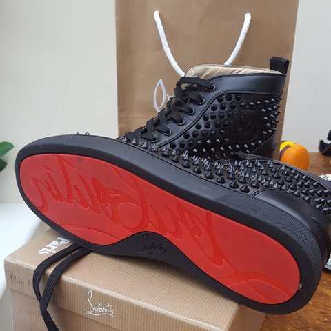 2621bbaa8ce7 Christian Louboutin men s trainers size 8 (42) in new black - Depop