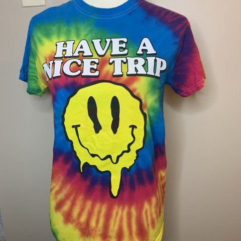 Trippy Tie Dye Smiley Face Tee Shirt Size Small Has A Fit Depop