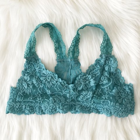 2cda230363f907 NEW WITH TAGS! Sea Green Floral Racerback Lace Bralette is - Depop